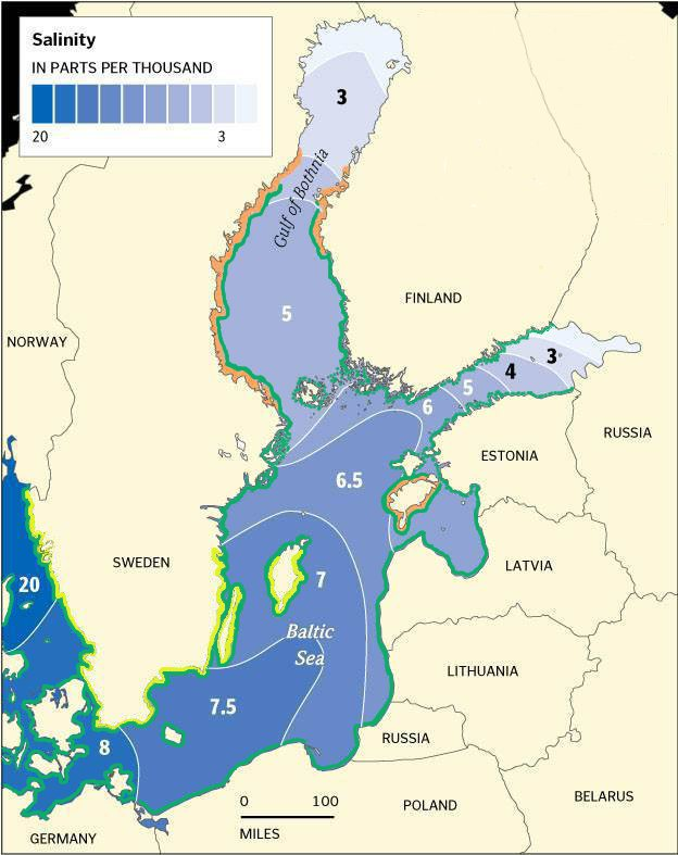 Salinity and Fucus distribution in the Baltic Sea